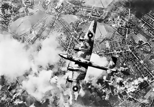 A_Handley_Page_Halifax_of_RAF_Bomber_Command_over_the_target_during_a_daylight_raid_on_the_oil_refinery_at_Wanne-Eickel_in_the_.jpg